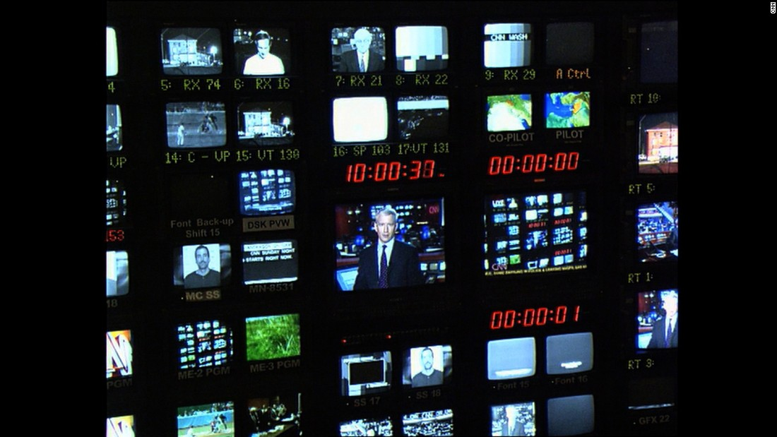All monitors are fired up in the control room during a 2003 broadcast.