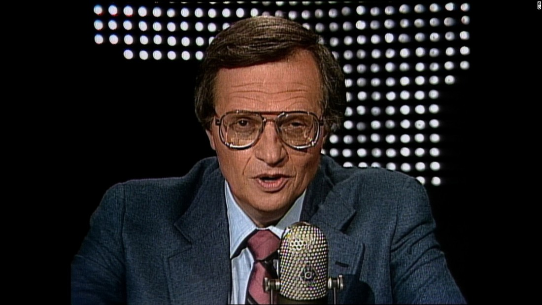 "Larry King hosts the inaugural episode of ""Larry King Live"" on June 3, 1985. His first guest was then-New York Gov. Mario Cuomo."