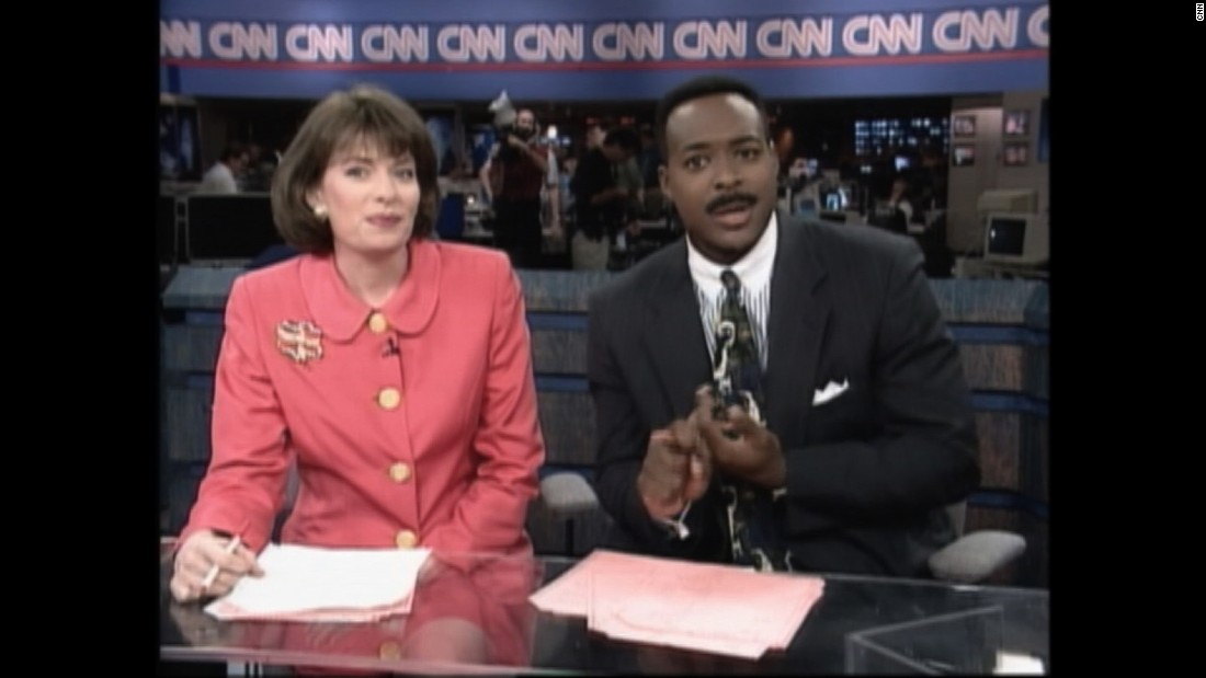 Donna Kelley and Leon Harris anchor a special broadcast marking 15 years of CNN.