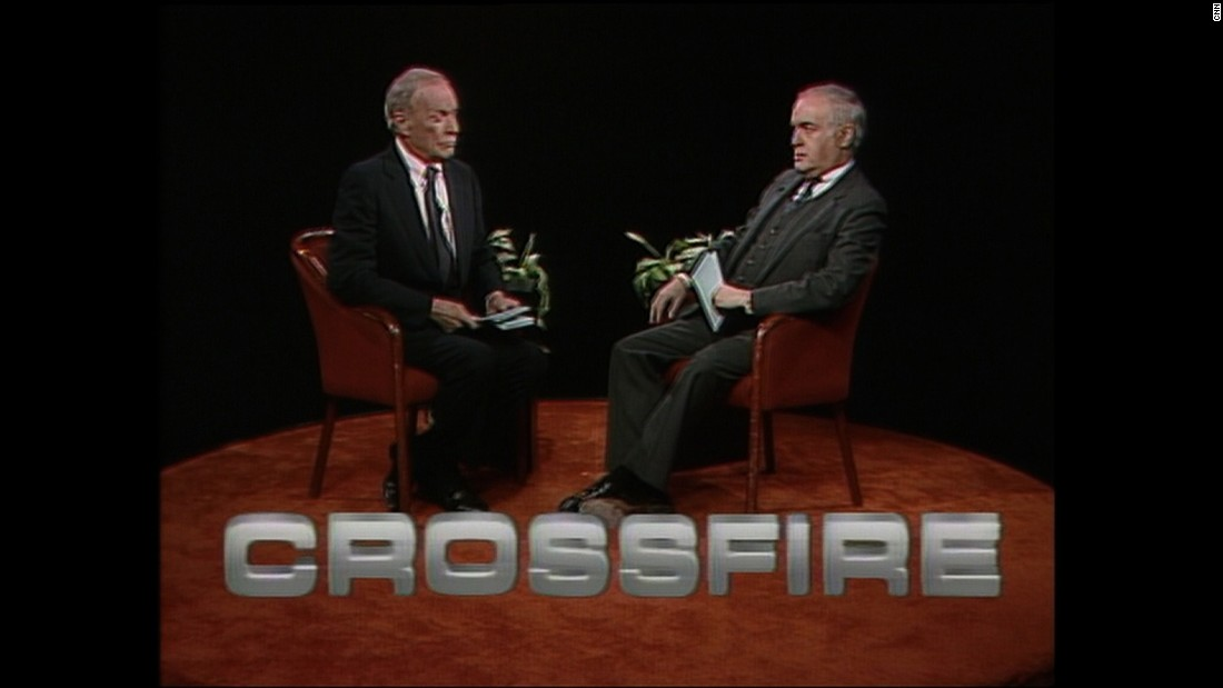 """Crossfire"" was another signature show that ran from 1982 to 2005 and again from 2013 to 2014. This 1987 edition was hosted by journalist Tom Braden and columnist Robert Novak."