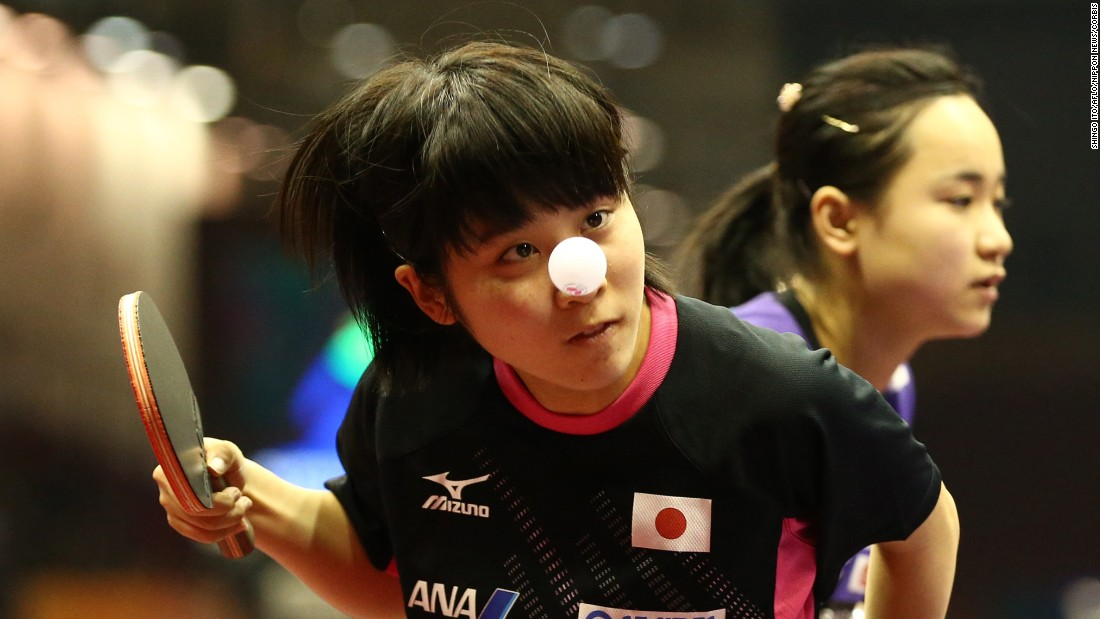 Miu Hirano and Mima Ito, of Japan, train for the 2015 World Table Tennis Championships in Suzhou, China, on Monday, April 27.