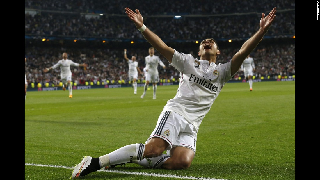Real Madrid's Javier Hernandez Balcázar, known as Chicharito, celebrates scoring the only goal during the UEFA Champions League quarterfinal second leg soccer match between Real Madrid and Atletico Madrid in Madrid on Wednesday, April 22.