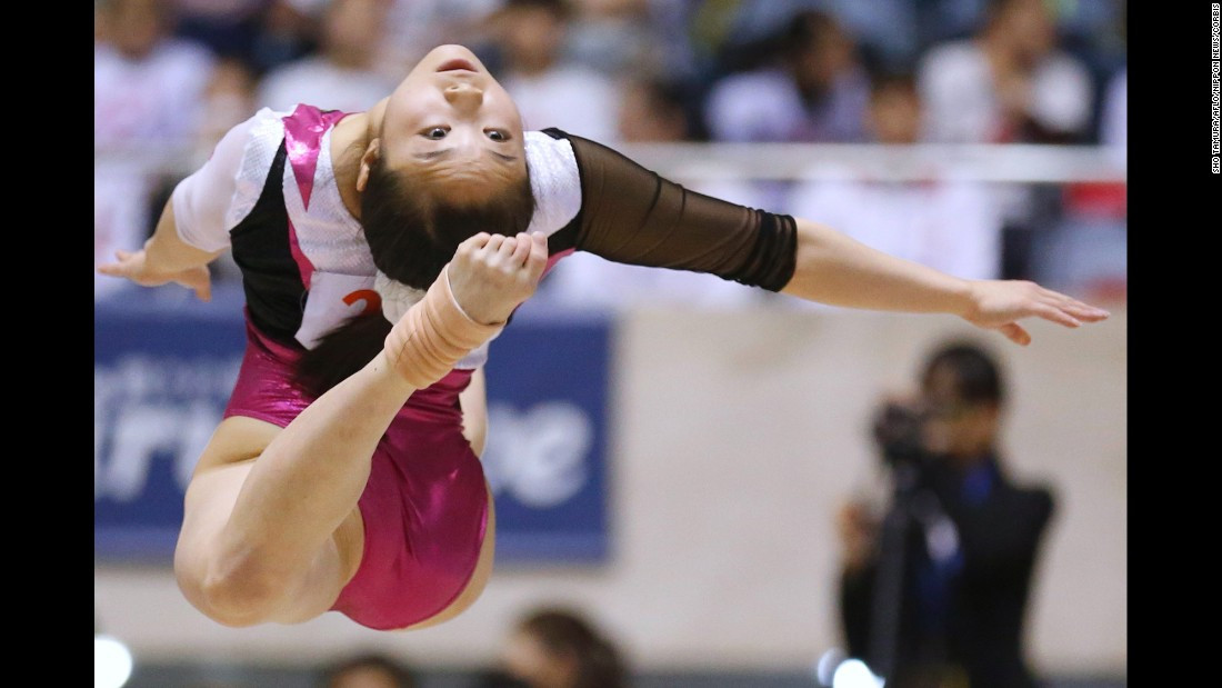 Japanese gymnast Koko Tsurumi competes in the Gymnastics Championship women's individual all-around floor final on Sunday, April 26, in Tokyo.