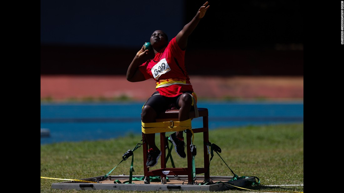 Laureta Cassinda of Angola competes in the women's shot put final on day three of the Caixa Loterias 2015 Paralympics Athletics and Swimming Open Championships on Saturday, April 25, in Sao Paulo.