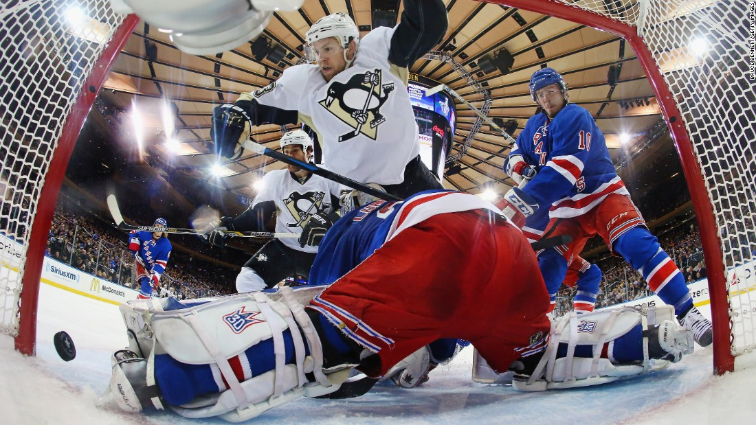 Nick Spaling of the Pittsburgh Penguins scores during the second period against Henrik Lundqvist of the New York Rangers during the 2015 NHL Stanley Cup Playoffs on Tuesday, April 24, in New York.