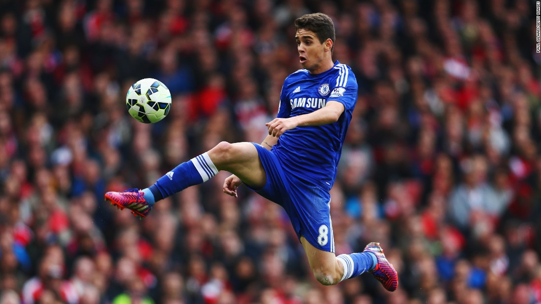 Oscar dos Santos Emboaba Júnior of Chelsea controls the ball during the Barclays Premier League match between Arsenal and Chelsea on Sunday, April 26, in London.