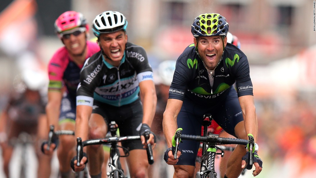 Alejandro Valverde of Spain celebrates his victory as he crosses the finish line ahead of Julian Alaphilippe of France during the 101st Liege-Bastogne-Liege cycle road race on Sunday, April 26, in Liege, Belgium.