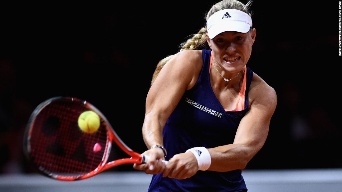 Angelique Kerber of Germany plays a backhand in her semi-final match against Madison Brengle of the United States during day six of the Porsche Tennis Grand Prix on Saturday, April 25, in Stuttgart, Germany.