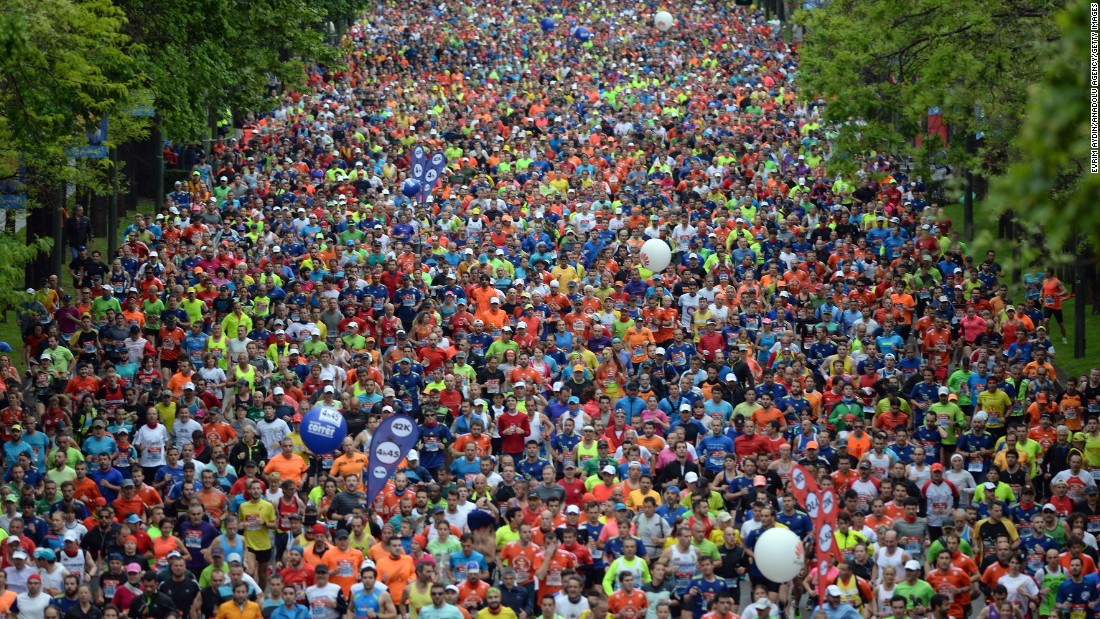 Competitors run through Madrid, racing in three categories, including a marathon, a 10 kilometer race and a half marathon, on Sunday, April 26. Thirty-one-thousand runners came out for the races.