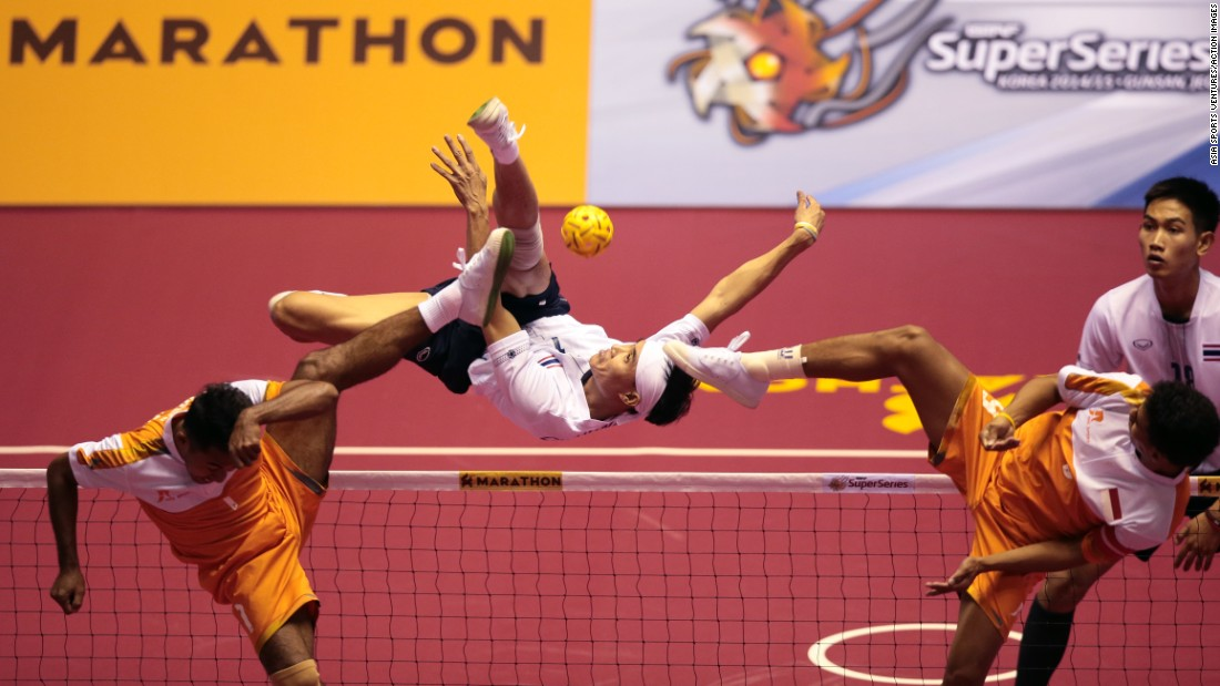 Thailand's Kritsanapong performs an overhead kick during a Sepaktakraw, or kick volleyball, match on Thursday, April 23, in Gunsan City, South Korea.