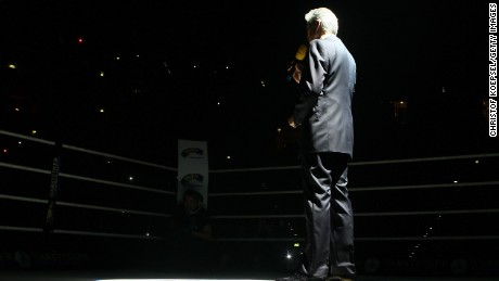 Ring announcer Michael Buffer takes center stage.