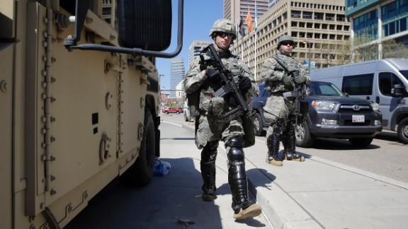 Maryland National Guardsmen patrol the streets on April 28.