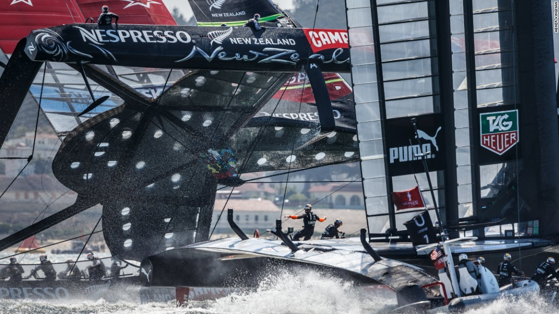 Abner Kingsman's winning photo of 2013 captures the precise moment when Oracle Team USA overtook Emirates Team New Zealand -- which was on the brink of capsizing -- during the 34th America's Cup.