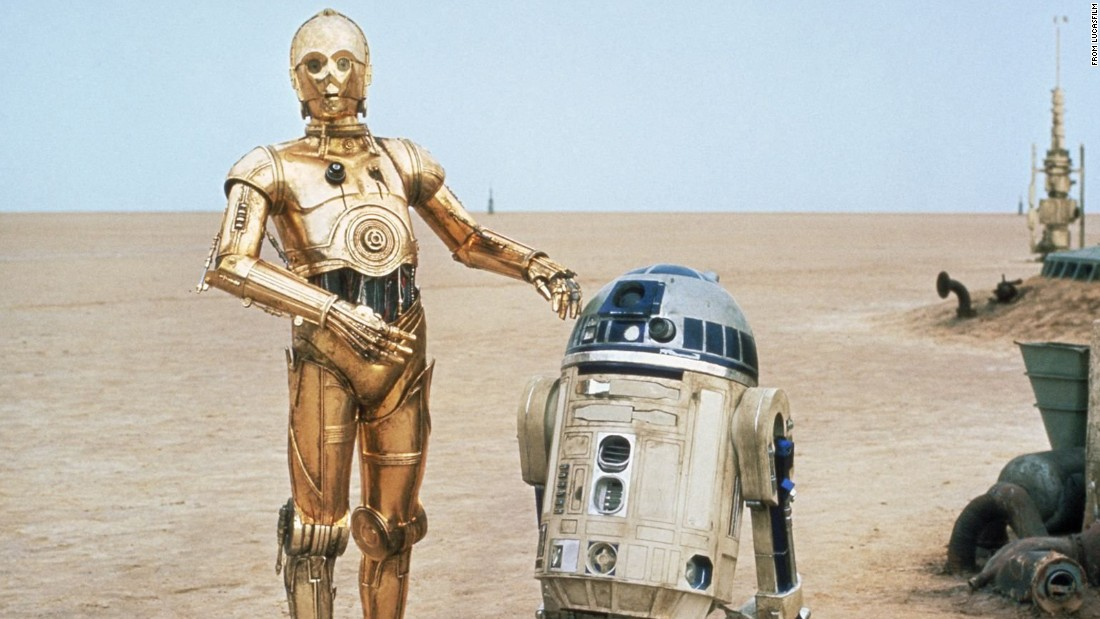 "C-3PO, left, and R2-D2 are the loyal droids who serve as companions to various ""Star Wars"" characters. They're somewhat based on two characters from Kurosawa's film ""The Hidden Fortress,"" a key ""Star Wars"" influence."