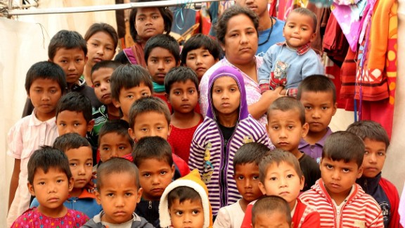 CNN Hero Pushpa Basnet with children in her care, following the earthquake that damaged their home in Kathmandu.