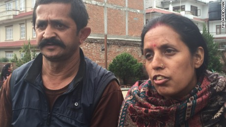 Tanka Maya Sitoula, pictured alongside her husband Mahendra Sitoula, spent 36 hours trapped in the ground floor of a collapsed 5-story building before being rescued uninjured.