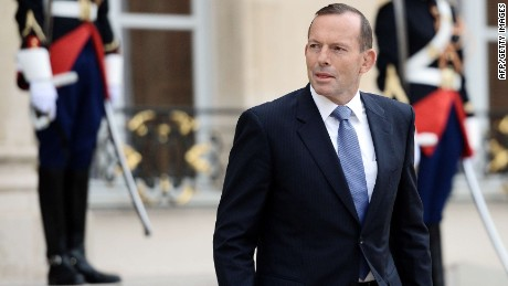 Australian Prime Minister Tony Abbott leaves the Elysee Palace in Paris after a meeting with France's President on April 27, 2015. AFP PHOTO / STEPHANE DE SAKUTINSTEPHANE DE SAKUTIN/AFP/Getty Images