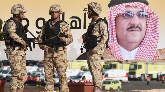 On the poster is a portrait of Saudi Interior minister Mohammed bin-Nayef.