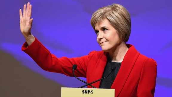 Nicola Sturgeon is the leader of the Scottish National Party, which advocates for Scotland's succession from the United Kingdom.
