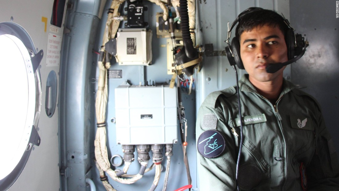 An airman from the Indian Air Force aboard the Mi-17 on its relief and medical evacuation mission.
