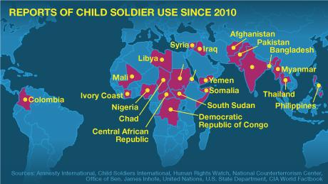 Child soldier use around the world