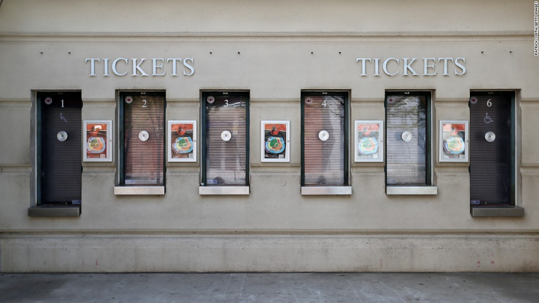 Ticket windows are closed before the game at Camden Yards. For the first time in Major League Baseball, fans were shut out of a game.