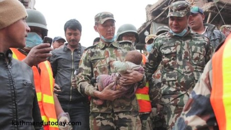 Man, baby rescued from rubble in Nepal