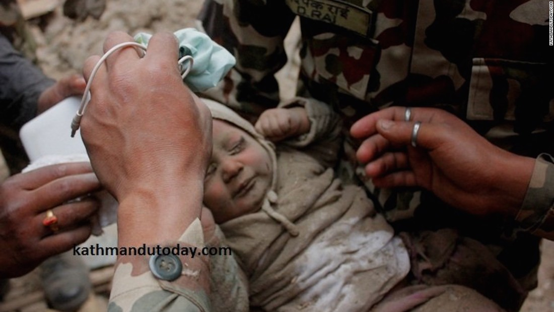 Four-month-old Sonit Awal spent 22 hours buried under the rubble of his home in Muldhoka, Bhaktapur after the Nepal earthquake, which hit on Saturday, April 25.