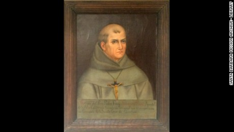 The only known portrait of Junipero Serra, painted in Mexico based on a description of him.
