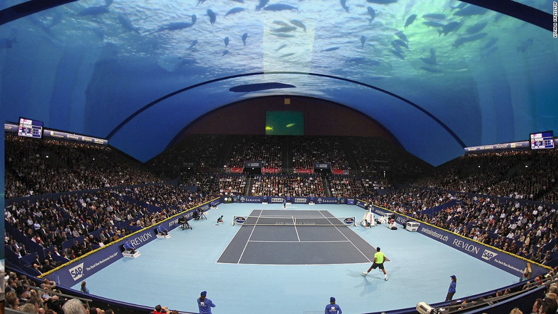 Game, set and catch of the day? Polish architect Kotala Krzysztof has come up with a unique court concept which would allow tennis matches to be contested underwater.