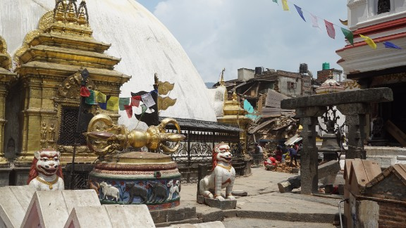 """The earthquake damaged parts of the Swayambhunath Stupa, a famous tourist spot in Kathmandu often called the """"Monkey Temple"""" after the wild monkeys who roam the site."""