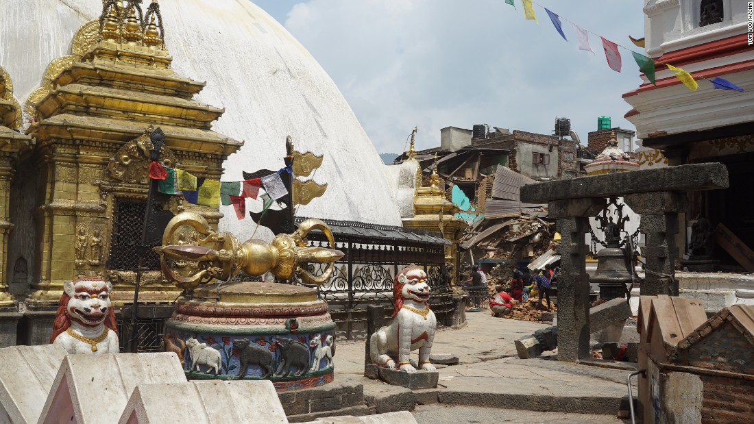 "The earthquake damaged parts of the Swayambhunath Stupa, a famous tourist spot in Kathmandu often called the ""Monkey Temple"" after the wild monkeys who roam the site."