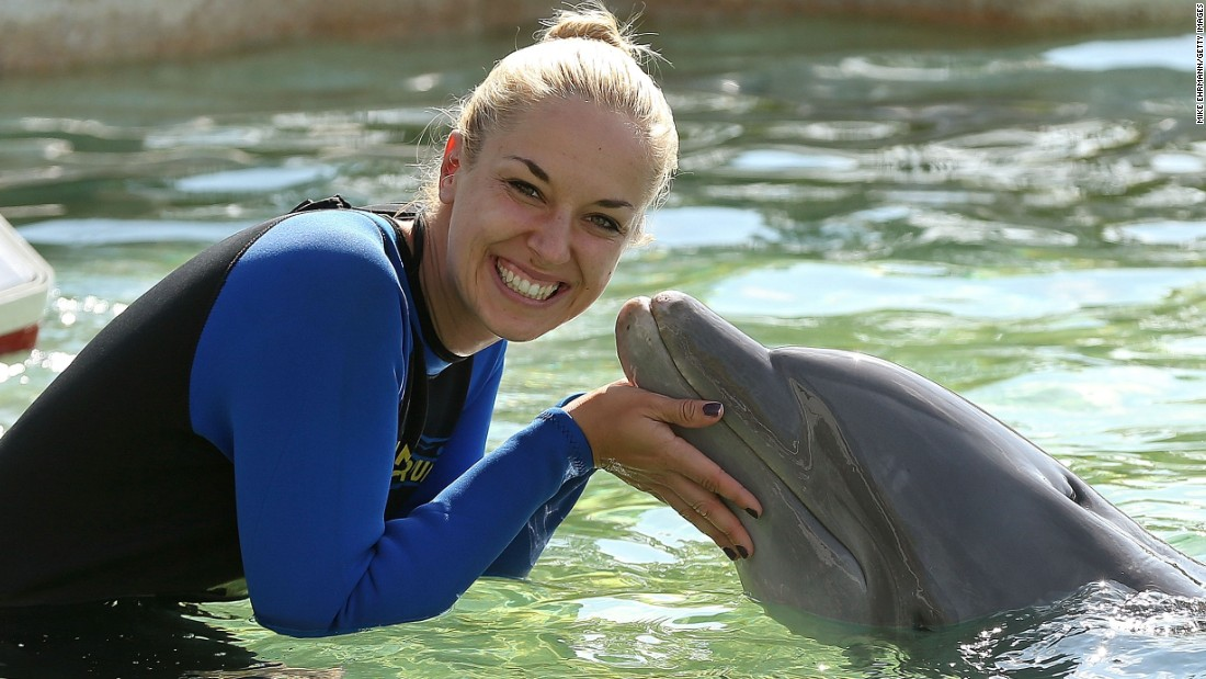 Top-20 female player Sabine Lisicki is used to getting up close with marine wildlife. The German swam with dolphins ahead of the 2015 Miami Open.