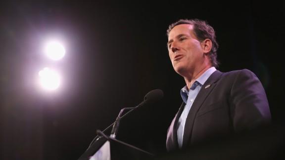 Santorum speaks at the Iowa Freedom Summit on January 24 in Des Moines, Iowa.