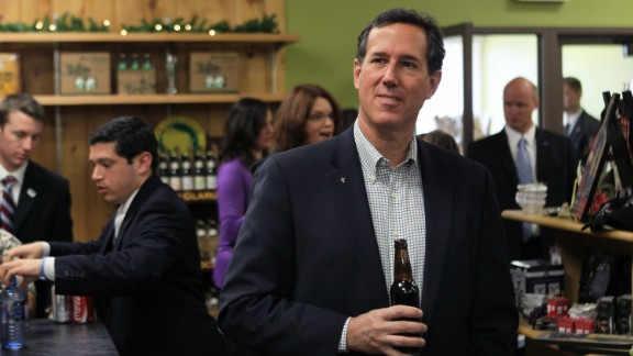 Santorum tries one of the local craft beers while having lunch at Simon