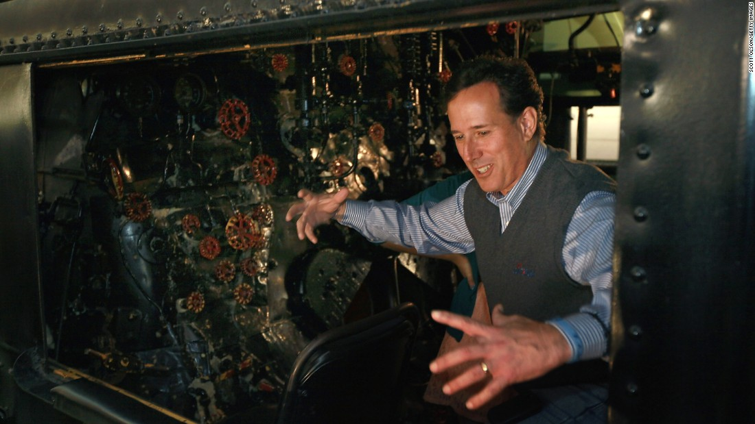 Santorum tours a train engine during a campaign stop at the National Railroad Museum on April 1, 2012, in Green Bay, Wisconsin.