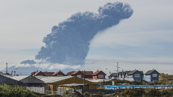 A thick plume pours from the Calbuco Volcano near Puerto Montt, Chile, on Thursday, April 30. The volcano erupted again Thursday, marking the third time since last week. About 1,500 people were evacuated this time, an Interior Ministry official said. The eruptions at the Calbuco are the first in more than four decades.