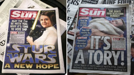 A combination of pictures created on April 30, 2015 shows a Scottish edition of Britain's Sun newspaper, featuring a montage of Scottish First Minister and Leader of the Scottish National Party (SNP) Nicola Sturgeon (L) and endorsing the SNP for the general election taken in Edinburgh, Scotland, on April 30, 2015 and an edition of the Sun newspaper in London featuring a montage of British Prime Minister and leader of the Conservative Party David Cameron (R) with messages backing the Conservative Party for the general election and against the SNP. The Sun newspaper on Thursday urged readers to vote for the Conservative party of British Prime Minister David Cameron in next week's election but its Scottish edition backed rival nationalists. AFP PHOTO / ANDY BUCHANAN / DANIEL SORABJIAndy Buchanan, DANIEL SORABJI/AFP/Getty Images