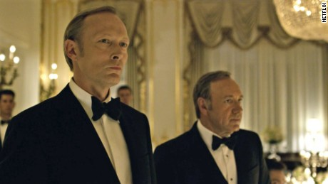 "Lars Mikkelsen, left, plays a Russian president who tangles with Kevin Spacey's character in ""House of Cards."""