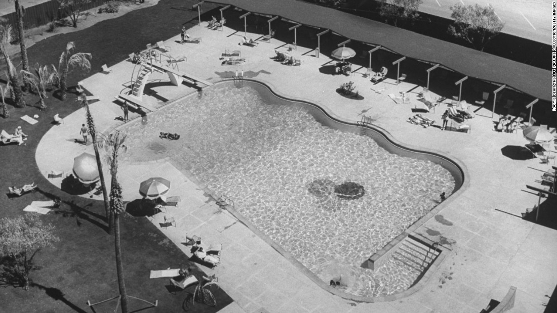This undated aerial view shows the Riviera's swimming pool. The landmark was the first high-rise hotel on the Las Vegas Strip when it opened in April 1955.