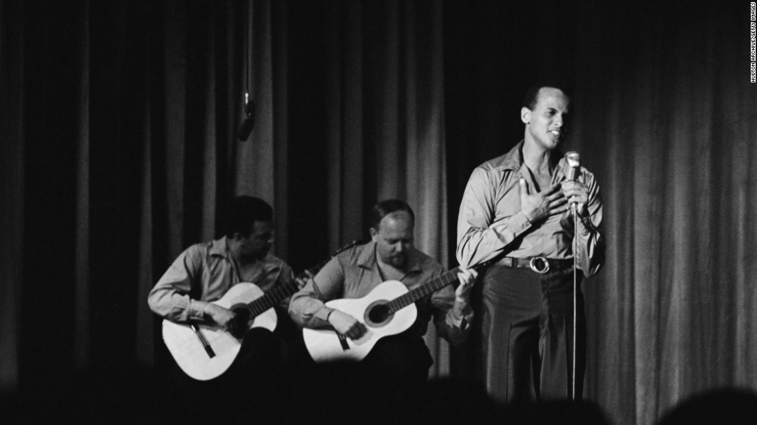 Singer, actor and civil rights activist Harry Belafonte performs at the Riviera in 1957.