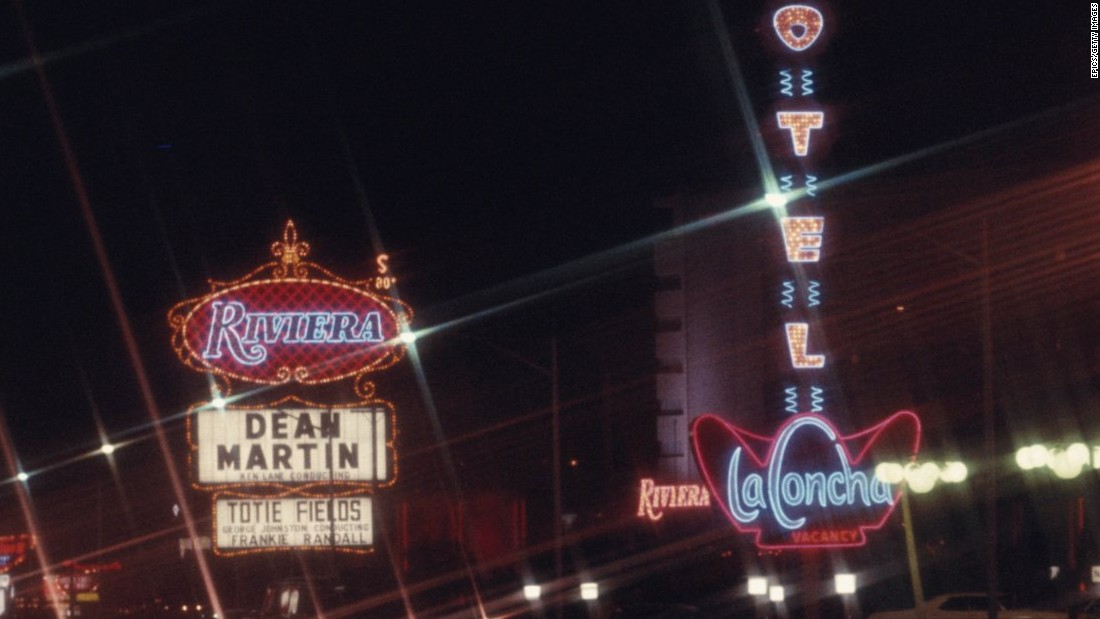 A sign advertises Rat Pack singer Dean Martin's show at the Riviera in December 1969, the same year that Martin bought a share in the property.