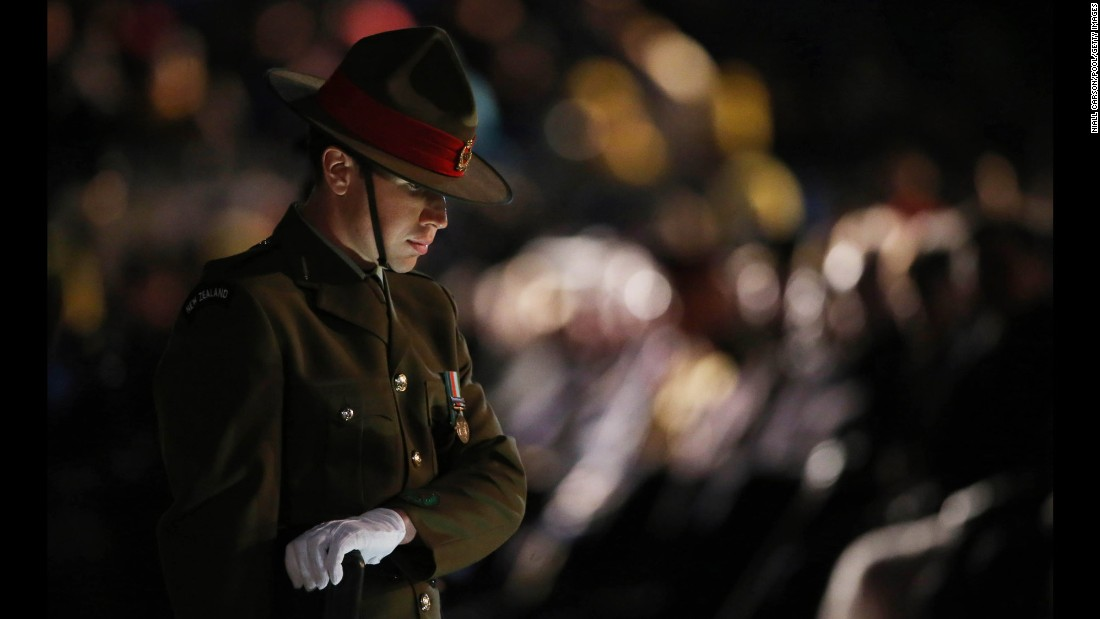 "A New Zealand soldier takes part in a Spirit of Place Ceremony on April 25, marking the 100th anniversary of the <a href=""http://www.cnn.com/2015/04/23/asia/gallery/anzac-archive-photos/index.html"" target=""_blank"">Battle of Gallipoli</a>, at Anzac Cove in Turkey. In 1915, Allied troops waded ashore on the Gallipoli Peninsula at the start of an ill-fated land campaign to wrest the Dardanelles Strait from the Ottoman Empire. The disastrous World War I battle pitted troops from Australia, Britain, France and New Zealand against Ottoman forces backed by Germany."