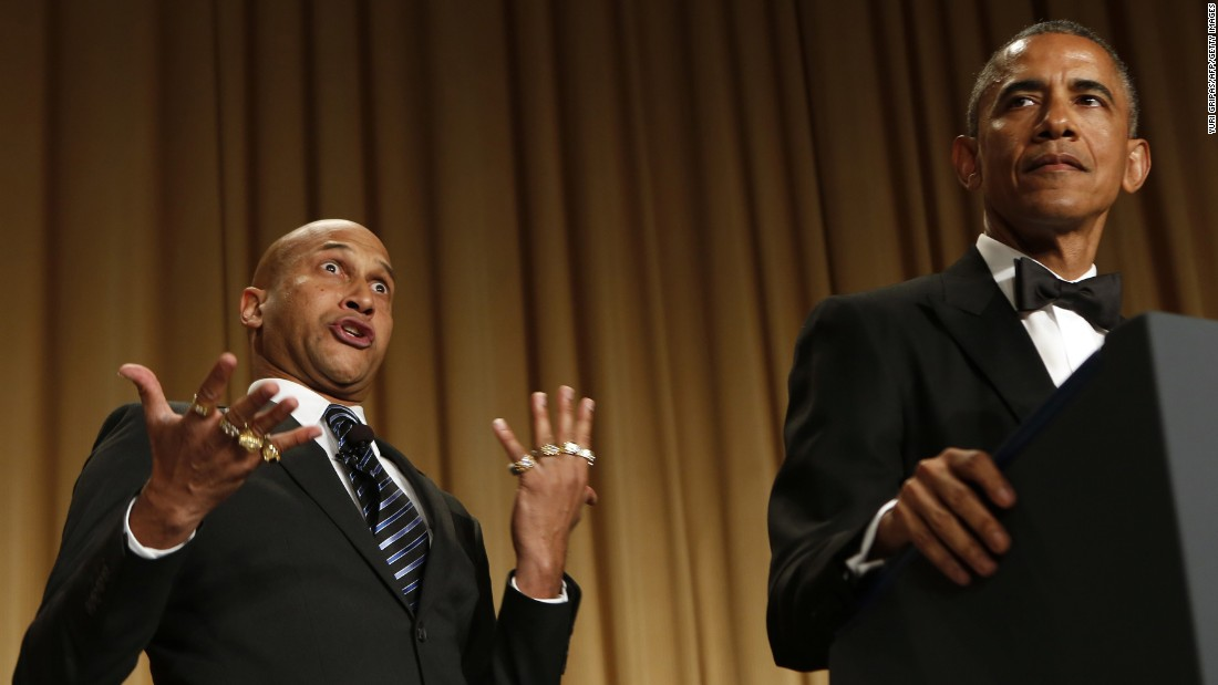 "President Barack Obama speaks next to comedian Keegan-Michael Key, who is playing Luther, <a href=""http://www.cnn.com/videos/politics/2015/04/26/whcd-sot-obama-anger-translator-luther.cnn/video/playlists/correspondents-dinner/"" target=""_blank"">""Obama's anger translator,""</a> on Saturday, April 25, at the annual White House Correspondents' Association Dinner in Washington."