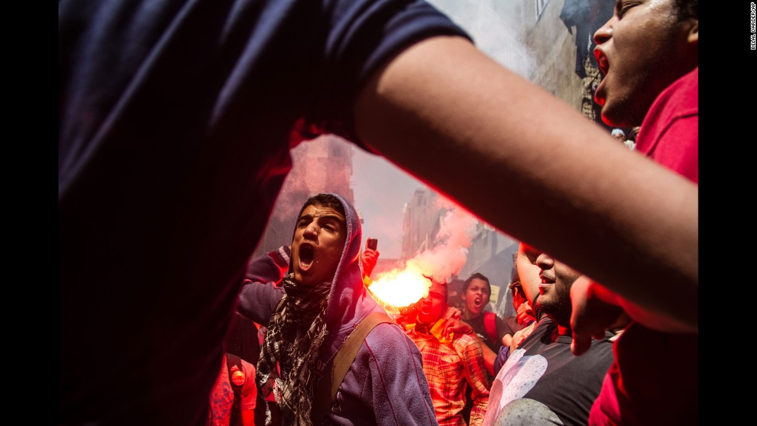 "Supporters of the Muslim Brotherhood gather in the El-Mataria neighborhood of Cairo on Friday, April 24, to protest the 20-year sentence for <a href=""http://www.cnn.com/2015/04/21/africa/egypt-mohamed-morsy-verdict/"" target=""_blank"">ousted president Mohamed Morsy</a> and verdicts against other prominent figures of the Brotherhood. Morsy was convicted on charges of violence and inciting violence and sentenced to prison for the torture of protesters outside the presidential palace in December 2012."