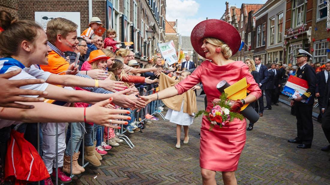 Queen Maxima of the Netherlands takes part in the King's Day, a national holiday held in honor of the Netherlands' monarch, King Willem-Alexander, in Dordrecht, on Monday, April 27.