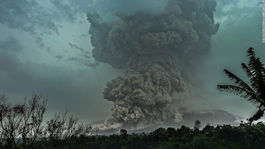 "Mount Sinabung erupts in North Sumatra, Indonesia, on Tuesday, April 28. Related: <a href=""http://www.cnn.com/2013/11/20/world/gallery/recently-active-volcanos/index.html"" target=""_blank"">Recently active volcanoes</a>"