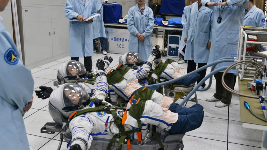 The astronauts had to undergo a series of tests in their pressure suits prior to the mission.