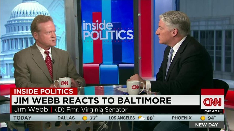 Jim Webb reacts to Baltimore