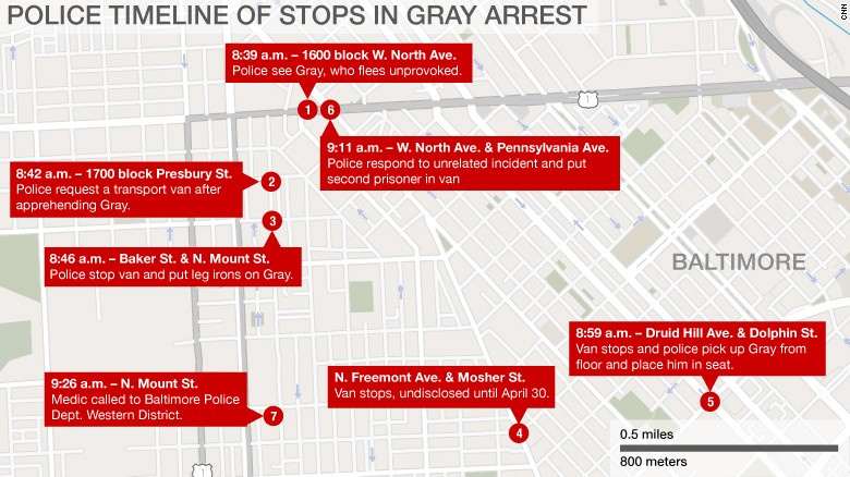 Police: Van carrying Gray made additional stop